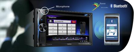 Bluetooth Parrot per comunicazione vivavoce, accesso alla rubrica e riproduzione audio via streaming