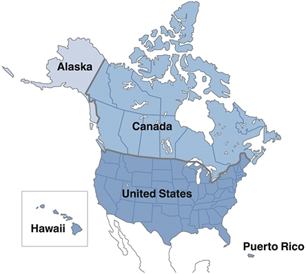 Us Map Showing Canada Puerto Rico Clarion Latin America | NZ503